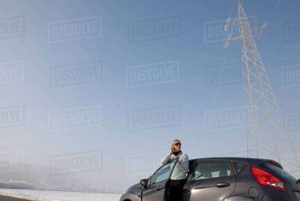 Woman talking on phone in Piedmont, Italy Royalty-free stock photo
