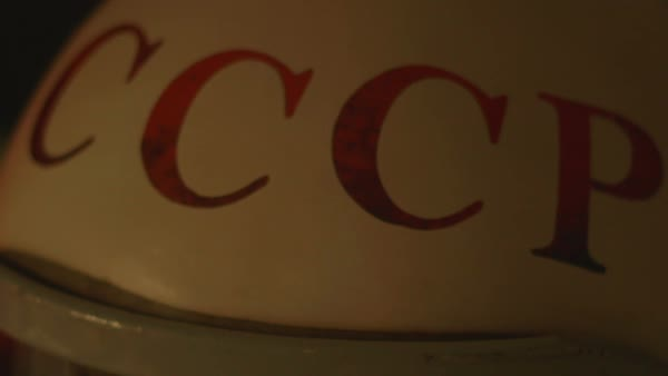 Red Letters of CCCP are painted on a retro cosmonaut helmet, for landing identifying in foreign countries.  USSR or CCCP, the Soviet Union abreviation. Royalty-free stock video