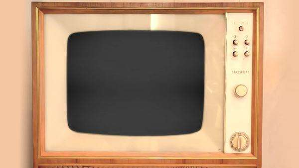 An old wooden TV flickers Royalty-free stock video