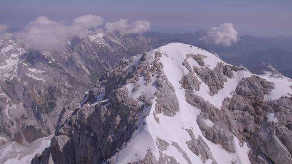 Aerial shot of mountain Triglav with snow Royalty-free stock video