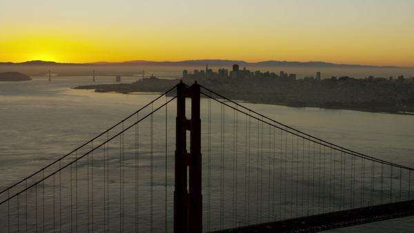 Aerial sunrise view Golden Gate Bridge San Francisco California Royalty-free stock video