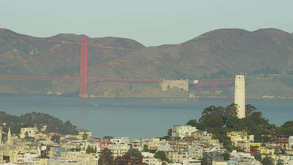 Aerial view San Francisco Skyline Coit Tower Golden Gate Bridge Royalty-free stock video