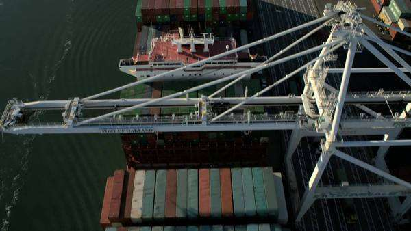 Aerial overhead view Oakland Port San Francisco, USA Royalty-free stock video