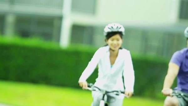 Healthy Lifestyle Cycling Young Ethnic Couple Royalty-free stock video