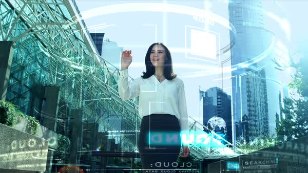 Ambitious successful Asian American businesswoman using virtual reality interactive online cloud display motion graphics technology outdoor in city downtown Royalty-free stock video