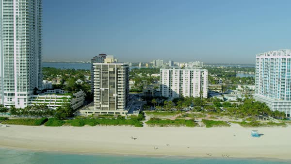 Aerial waterfront Landscape view of hotels and apartments Miami South Beach Biscayne Bay Florida USA Royalty-free stock video