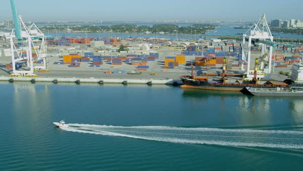 Miami USA - April 2017: Aerial view Port Miami international shipping container port Biscayne Bay Miami Florida USA Royalty-free stock video