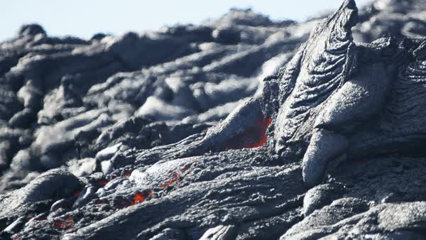 Shimmering heat from high temperature flow of slow moving volcanic lava Hawaii close up Royalty-free stock video