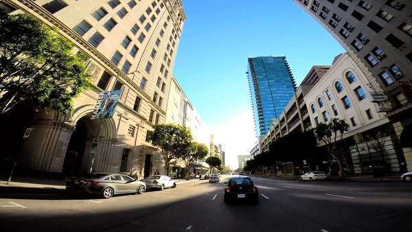 POV drive wide angle driving city road traffic Los Angeles California USA Royalty-free stock video