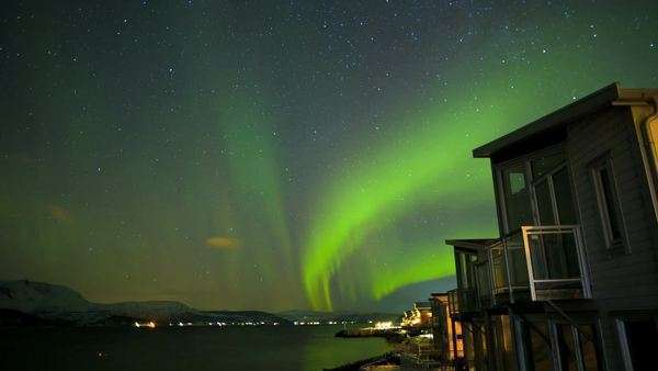 Timelapse Aurora Borealis natural Solar wind  Geomagnetic storm  Norway Royalty-free stock video