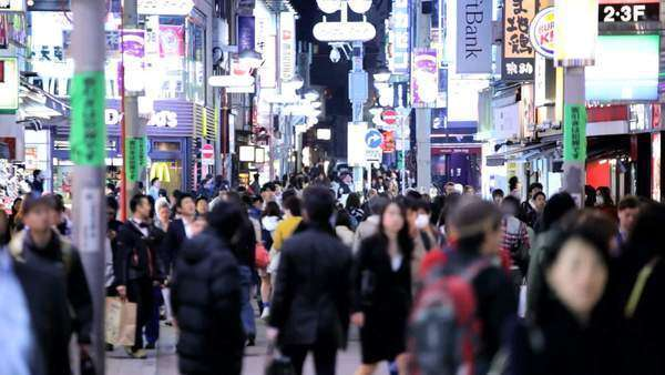 Street Center Ginza Shibuya night illumination pedestrian zone Tokyo Royalty-free stock video