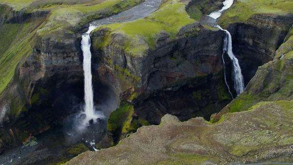 Aerial Haifoss  Waterfalls  Water Power Scenic Beauty Iceland Europe Royalty-free stock video