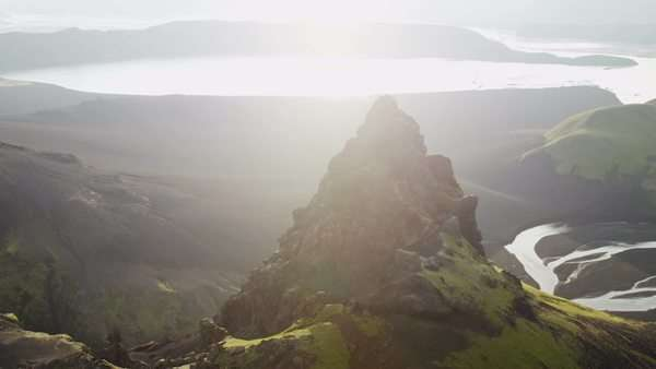 Aerial Sun Flare Mountain Meltwater Natural Lakes Pinnacles Iceland Royalty-free stock video