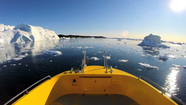 POV World Heritage Site Disko Bay Greenland fisheye boat climate change remote melting water icecap travel Royalty-free stock video