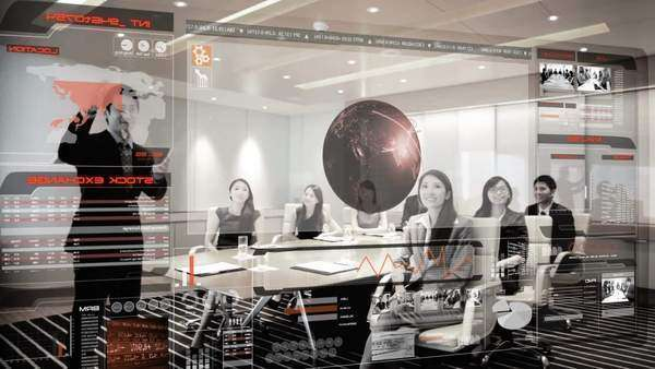 Boardroom team meeting with interactive touch screen overlay Royalty-free stock video