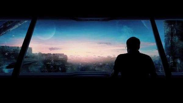 Futuristic City With Man Looking Out Royalty-free stock video