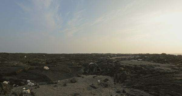 Handheld extreme wide shot of a rocky coast Royalty-free stock video