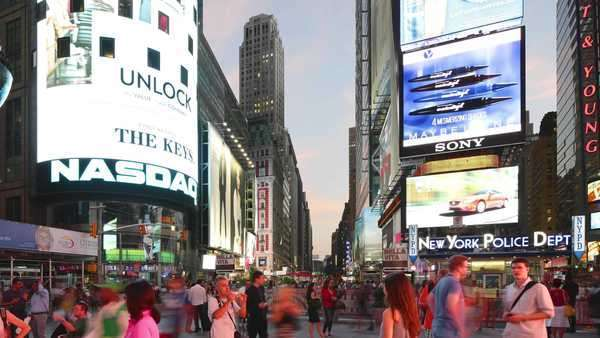 New York City - September 16, 2014: Times Square broadway with traffic and commercials. Royalty-free stock video
