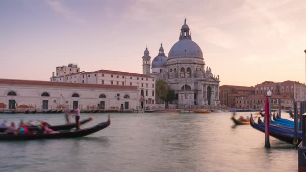 Italy Sunset Grand Canal Santa Maria Della Salute Basilica Gondola Traffic Panorama Timelapse Venice Royalty-free stock video