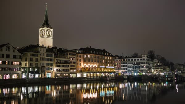 Night Zurich Limmat River Side Reflection View Timelapse Switzerland Royalty-free stock video