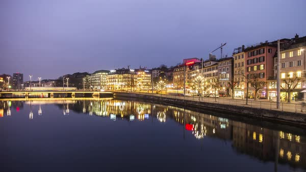 Night Zurich Cityscape Bridge River Reflection View Timelapse Switzerland Royalty-free stock video