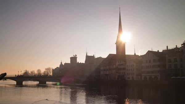 Sunset Sky Zurich River Lady Minster Cathedral View Timelapse Switzerland Royalty-free stock video