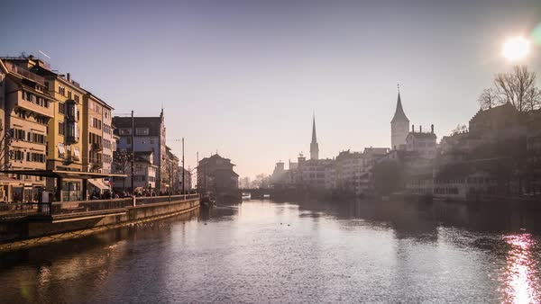 Day Zurich Cityscape Bridge Limmat River View Timelapse Switzerland Royalty-free stock video