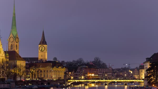 Night Zurich Limmat Riverscape View Timelapse Switzerland Royalty-free stock video