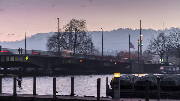 Zurich Sunset River Traffic Bridge Side View Timelapse Switzerland Royalty-free stock video