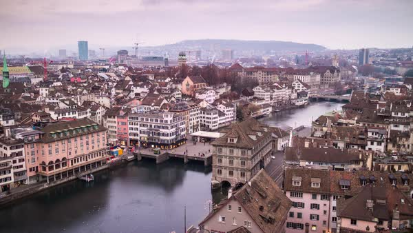 Day  Grossmunster View Point Zurich Cityscape River Timelapse Switzerland Royalty-free stock video