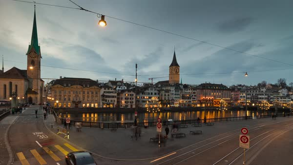 Night Zurich Traffic Limmatquai Riverside View Timelapse Switzerland Royalty-free stock video