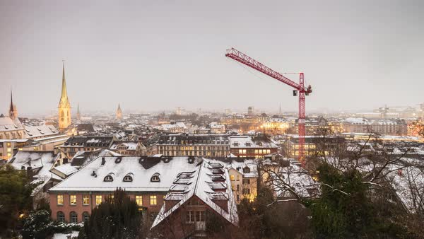Zurich University View Point Ooftops Construction Timelapse Switzerland Royalty-free stock video