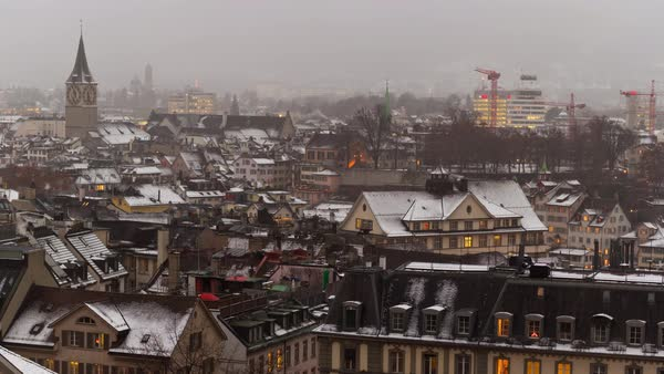 Zurich University View Point Cityscape Rooftops View Timelapse Switzerland Royalty-free stock video