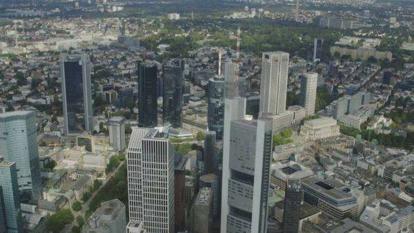 Flying with helicopter over city of frankfurt, aerial view of the city during helicopter sightseeing flight Royalty-free stock video