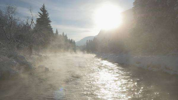 Aerial of Misty river in winter morning Royalty-free stock video