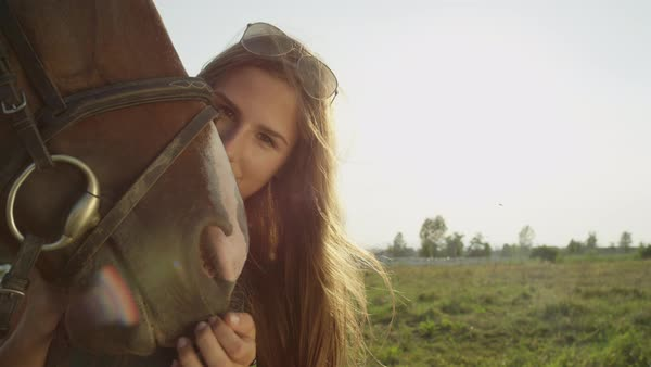 Beautiful young Caucasian girl caressing and petting her beloved dark brown horse and cute muzzle on stunning sunny summer day Royalty-free stock video