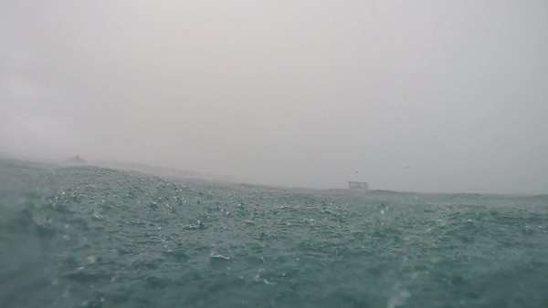 Underwater slow motion of Heavy raining into the ocean Royalty-free stock video