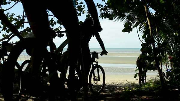 Static shot showing sea scenery and people riding bicycles Rights-managed stock video