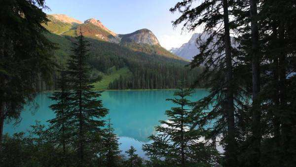 Pristine Emerald Lake, Yoho National Park, British Columbia, Canada, dolly shot Royalty-free stock video
