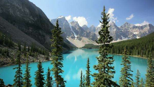 Banff National Park, Canada, Moraine Lake, dolly shot Royalty-free stock video