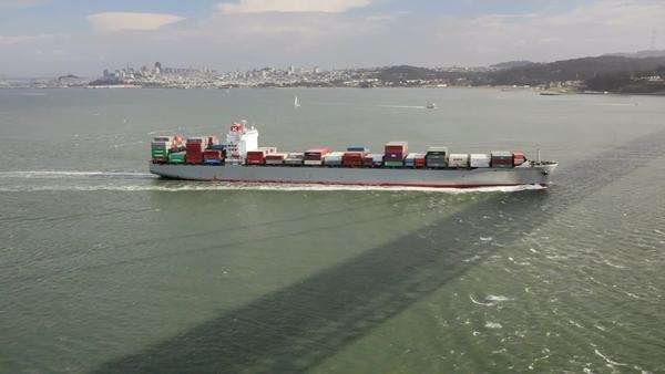 Container freight ship in the San Francisco Bay Royalty-free stock video