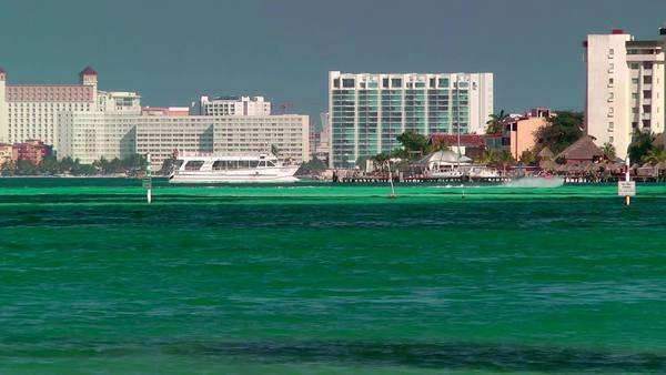 Resort skyline and beach in Cancun, Mexico Royalty-free stock video