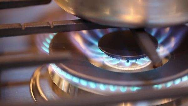 Gas burner on stove Royalty-free stock video