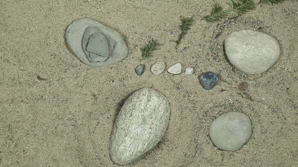 Stop motion of stones and twigs moving in the sand Royalty-free stock video