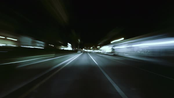 Point-of-view shot of night driving hyperlapse on highway Royalty-free stock video
