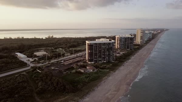 Aerial shot of modern residential buildings near the beach Royalty-free stock video
