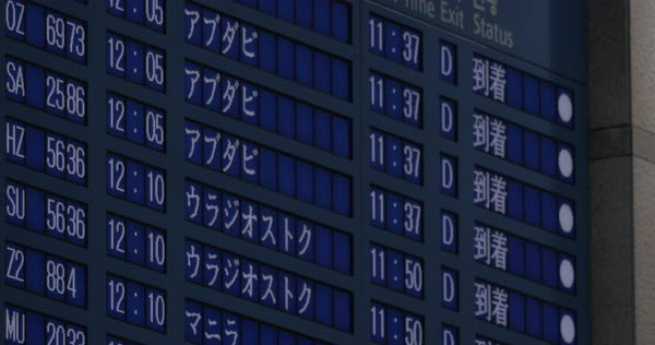 Flight timetable at the airport, information displayed in several languages Royalty-free stock video