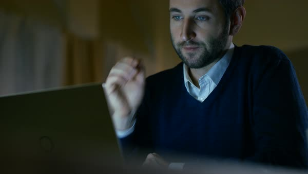 Close-up of a middle aged man working on a laptop Royalty-free stock video