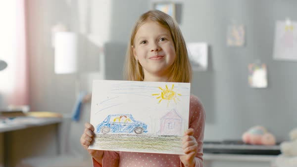 Cute little girl in her room shows drawing of her family in a car. Royalty-free stock video
