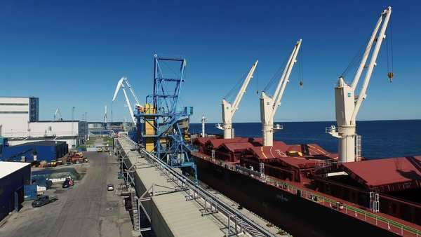 Aerial drone shot of cargo harbor with cranes Royalty-free stock video
